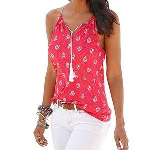 Tops - Pink & White Sleeveless Top - Medium